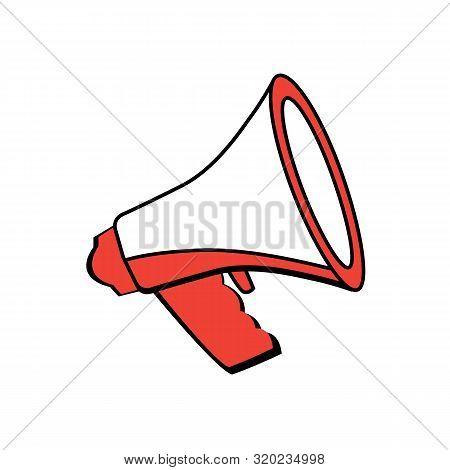 Police Bullhorn Logo Flat Icon Isolated On White Background. Police Megaphone Horn Equipment Tool De