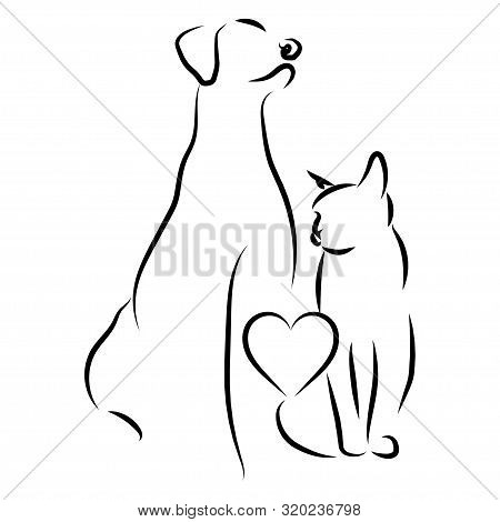Veterinary Logo. Illustration For Pet Shop. Drawing With Pets. Stylized Logo With A Dog And A Cat.