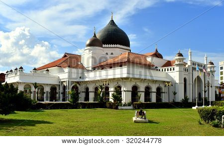 View Of The Kapitan Keling Mosque On A Sunny Day In Penang, Malaysia