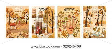 Autumn Mood Hand Drawn Poster Templates Set. Fall Season Nature Flat Vector Illustrations. People En