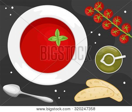 Gazpacho Soup In A Plate With Slices Of Ciabatta, Olive Oil And Cherry Tomatoes. Flat Lay. Flat Vect