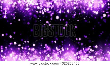 Background With Magenta Glitter Particles. Beautiful Holiday Purple Background Template For Premium