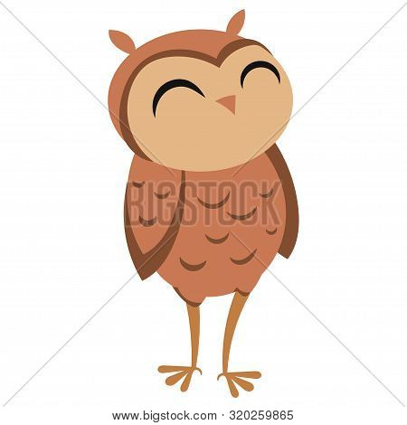 Cartoon Owl. Vector Illustration Of Cute Owl. Drawing Birds For Children. Zoo For Kids.