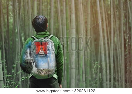 Overlay Waterfall And Forest On Bag Of  Backpack Behind Tourist Teen Boy With Bamboo Forest At Arash