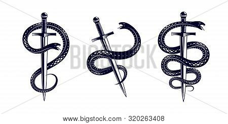 Snake And Dagger, Serpent Wraps Around A Sword Vector Vintage Tattoo, Roman God Mercury, Luck And Tr