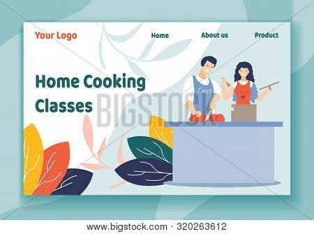 Home Cooking Classes Horizontal Banner, Young Loving Couple Together On Kitchen Prepare Dinner. Love