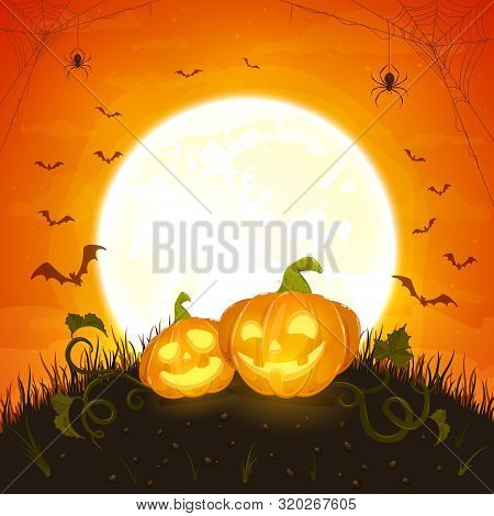 Two Smiling Pumpkins On Orange Background With Moon. Holiday Card With Jack O Lanterns, Bats And Spi