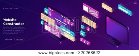 Website Constructor Isometric Concept Vector Illustration. Software Landing Page Template For Creati