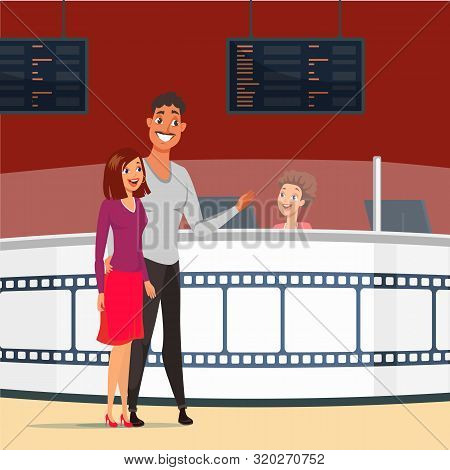 Couple On Date In Cinema Flat Vector Illustration. Happy Wife And Husband Buying Tickets For Film. G