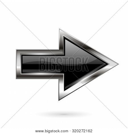 Black Arrow. 3d Shiny Glass Icon With Chrome Frame. Vector Illustration Isolated On White Background