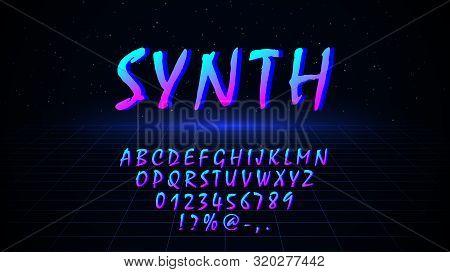Font In 80s 90s Style. Retrowave Synthwave Vaporwave Design Letters, Numbers, Symbols On Dark Backgr