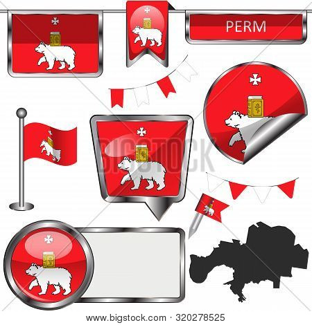 Vector glossy icons of flag of Perm, Russia on white poster