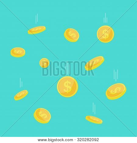 Falling Coins With White Track On Blue Background. Flying Gold Dollar Coin Icon. Template Design Of