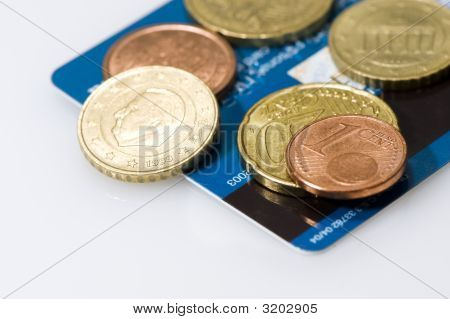 Euro Coins On Credit Card