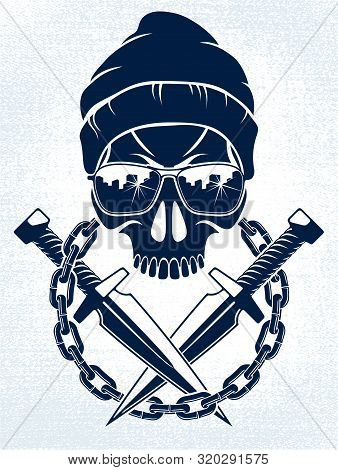 Anarchy And Chaos Aggressive Emblem Or Logo With Wicked Skull, Vector Vintage Scull Tattoo, Rebel Ga