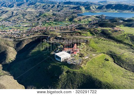 Simi Valley, California, USA - March 26, 2018:  Aerial view of Ronald Reagan Presidential Library and Center for Public Affairs near Los Angeles in Ventura County, California.