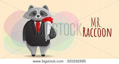 Mister Racoon Concept Banner. Cartoon Illustration Of Mister Racoon Vector Concept Banner For Web De