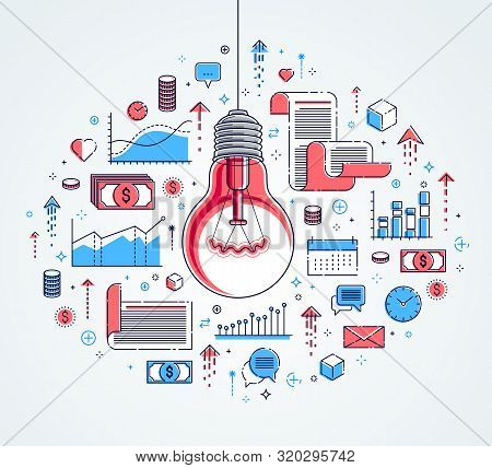 Shining Light Bulb And Set Of Icons, Business Idea Creative Concept, E-commerce Allegory, Internet B