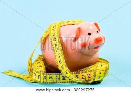 Piggy Bank And Measuring Tape. Budget Limit Concept. Economics And Finances. Pig Trap. Budget Crisis