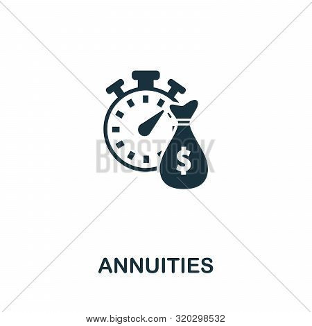 Annuities Vector Icon Symbol. Creative Sign From Passive Income Icons Collection. Filled Flat Annuit