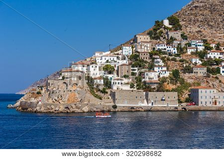 Beautiful Greek Landscape Of Harbour Hydra Town. Hydra Is One Of The Saronic Islands Of Greece, Loca