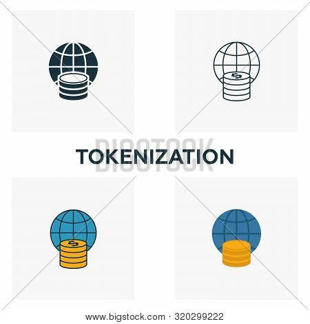 Tokenization Icon Set. Four Elements In Diferent Styles From Fintech Icons Collection. Creative Toke