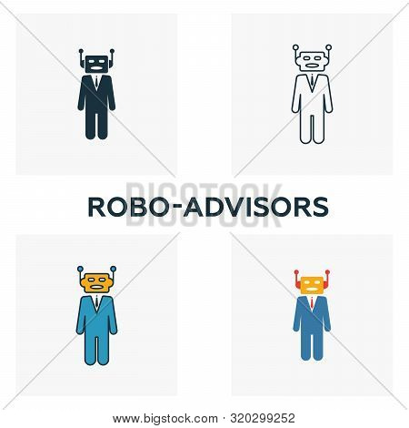 Robo-advisors Icon Set. Four Elements In Diferent Styles From Fintech Icons Collection. Creative Rob