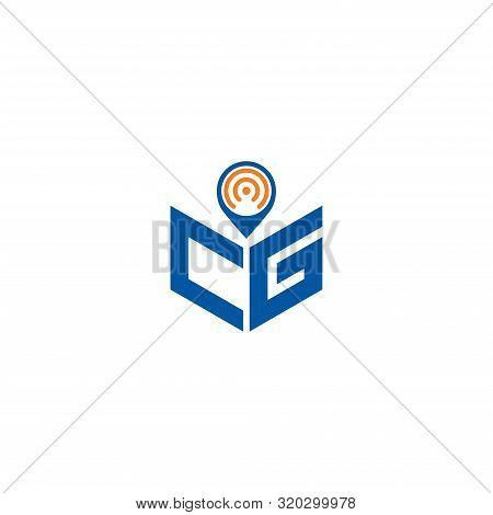 Abstract Polygonal Cg Logo, Cg Letter Logo, Polygonal Cg With Location Logo Sing And Symbol