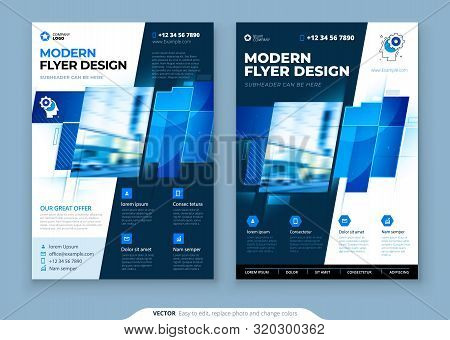 Blue Flyer Template Layout Design. Corporate Business Flyer, Brochure, Annual Report, Catalog, Magaz