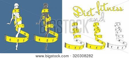 Measuring Tape Inch, Diet Theme White And Yellow With High Thin Girl. Theme For The Studio, Dressmak