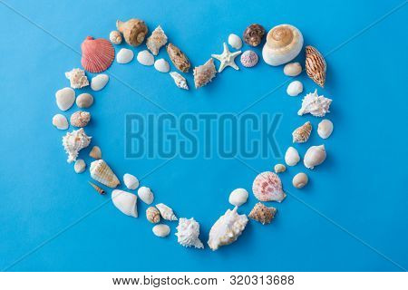 valentine's day, sealife and summer concept - frame of different sea shells in shape of heart on blue background