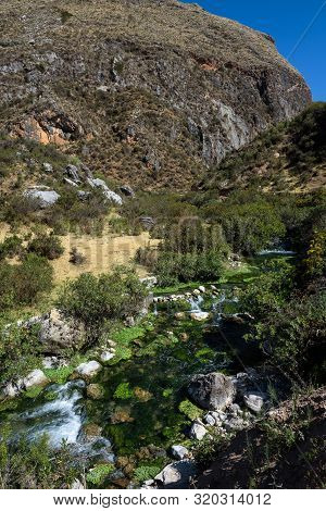 Streams And Waterfalls Feeding The Natural Pools Of The Millpu Blue Lagoons, Ayacucho, Peru