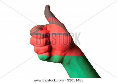 Malawi National Flag Thumb Up Gesture For Excellence And Achievement Made With Hand