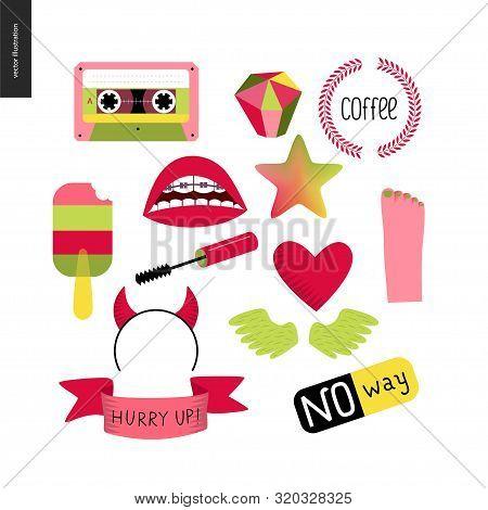 Girlish Icons Stickers Set. Vector Flat Cartoon Illustrated Icons Of Few Girl Elements - Masara Brus