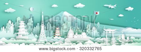 Tour Japan Architecture Travel With Sailboat And Airplane, Landmarks Of Tokyo In Japan Country, Tour