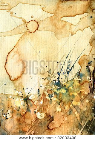 Artistic background watercolor on watercolor paper . poster