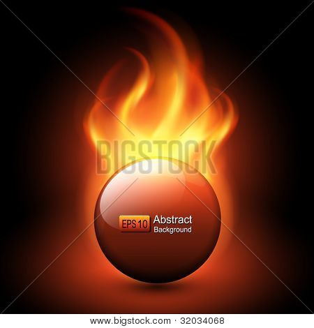 Abstract background with vector flames and fiery sphere..