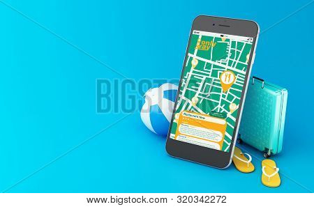 3d Illustration. Flip Flops, Travel Suitcase And Beach Ball With Smartphone Showing Gps Map Navigati