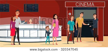 People Going To Cinema Cartoon Vector Illustration. Popular Family Movie. Cartoon Characters In Movi