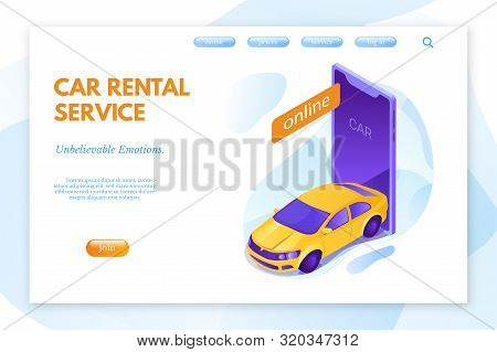 Car Rental Service Vector Landing Page Template. Vehicle Online Booking System. Yellow New Compact C
