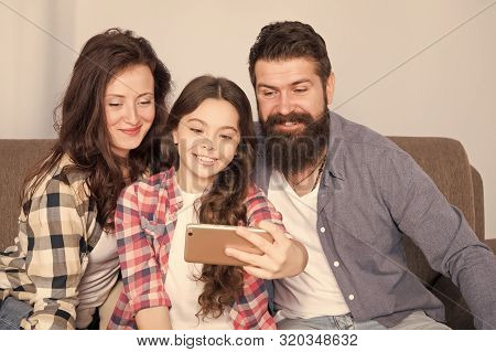 Family Selfie. Family Spend Weekend Together. Use Smartphone For Selfie. Friendly Family Having Fun