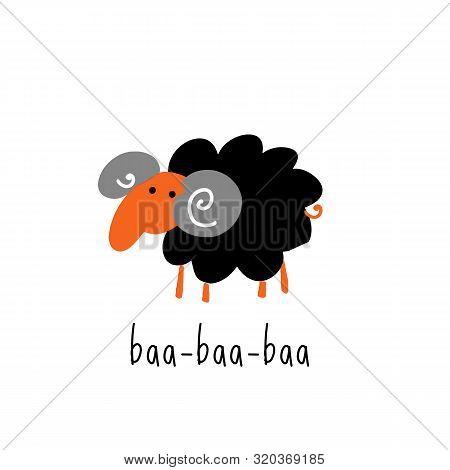 Funny Vector Illustration Of Bleating Sheep. Phrase Baa.