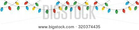 Vector Colorful Retro Christmas New Year Hanging String Lights Isolated Horizontal Border On White B