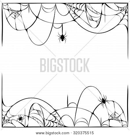 Scary Spider Web Background With Hanging Spiders Isolated On White. Cobweb Frame. Halloween Party Te