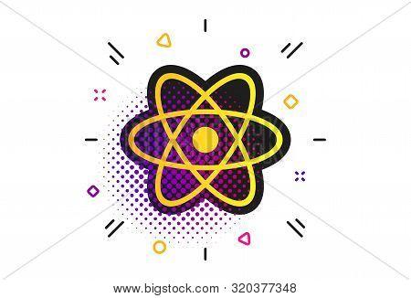 Atom Sign Icon. Halftone Dots Pattern. Atom Part Symbol. Classic Flat Atom Icon. Vector