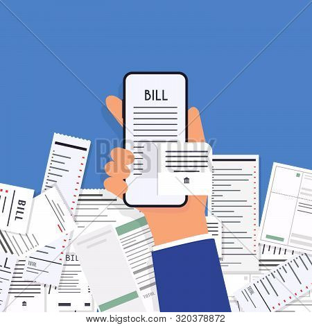 Hands Holding Phone With Paying Bills. Payment Of Utility, Bank, Restaurant And Other. Flat Design M