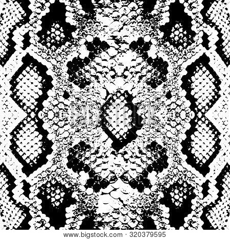 Snake Skin Scales Texture. Seamless Pattern Black Isolated On White Background. Simple Ornament, Fas