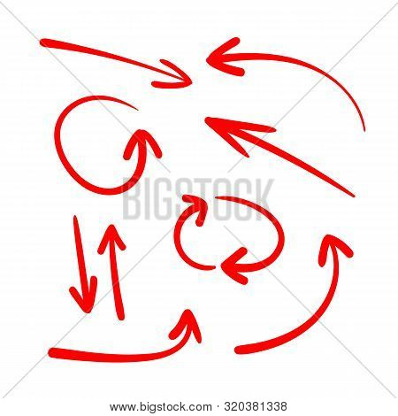 Vector Set Of Hand Drawn Red Arrows, Colored Arrows  Isolated On White Background, Directional Signs