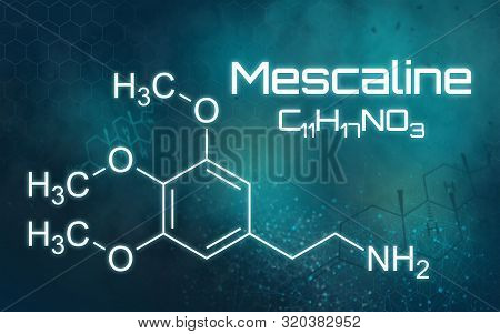Chemical Formula Of Mescaline On A Futuristic Background