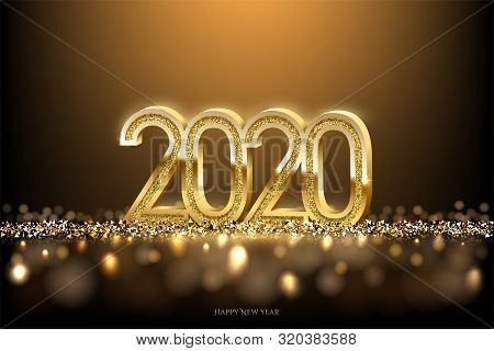 2020 New Year Luxury Design Concept. Vector Golden 2020 New Year Horizontal Template With Golden Gli